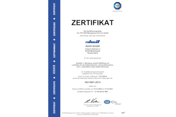 Almit Germany is oficially ISO 9001:2015 certified!